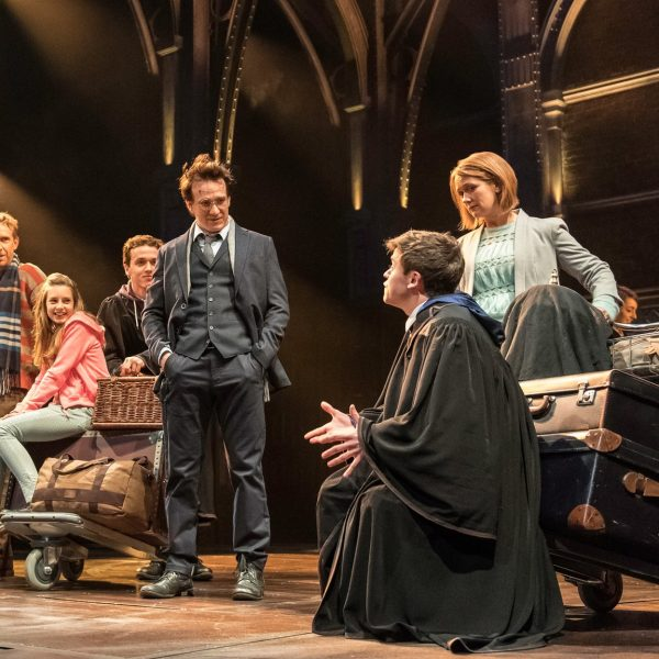The cast of Harry Potter and the Cursed Child, including Noma Dumezweni, second left, and Jamie Parker, centre. Photograph: Manuel Harlan