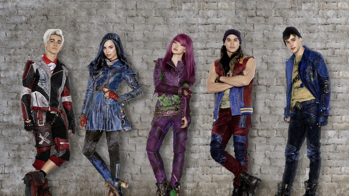"Disney Channel's original movie ""Descendants 2"" stars Cameron Boyce as Carlos, Sofia Carson as Evie, Dove Cameron as Mal, Booboo Stewart as Jay and Mitchell Hope as Ben. (Disney Channel/Bob D'Amico/Craig Sjodin)"