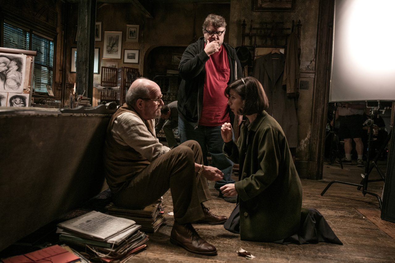 Richard Jenkins, director Guillermo del Toro and Sally Hawkins in The Shape of Water. Photo: