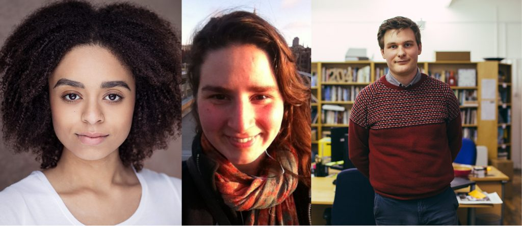 Pitch Your Play 2018 Winners: Indigo Griffiths, Wendy Dickinson and Matthew Gabrielli,