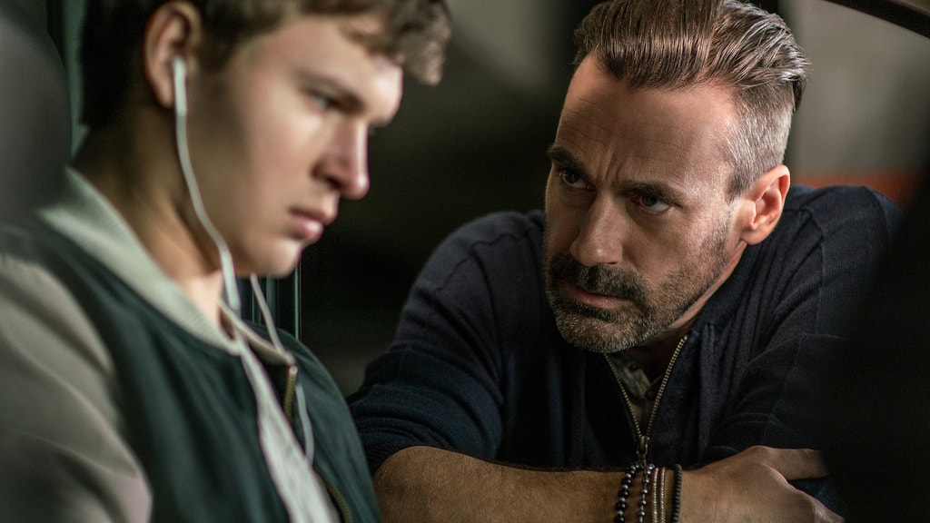 Ansel Elgort and Jon Hamm in Baby Driver