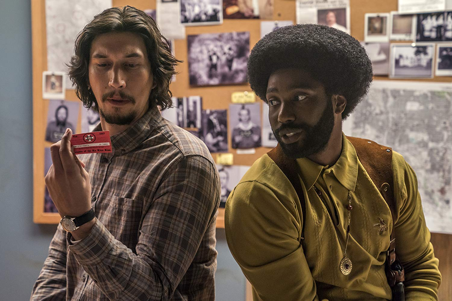 John David Washington and Adam Driver in BlacKkKlansman