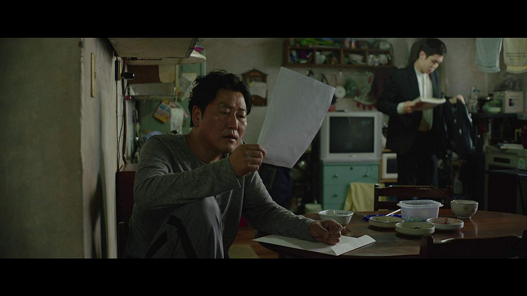 Kang-ho Song and Woo-sik Choi in Parasite